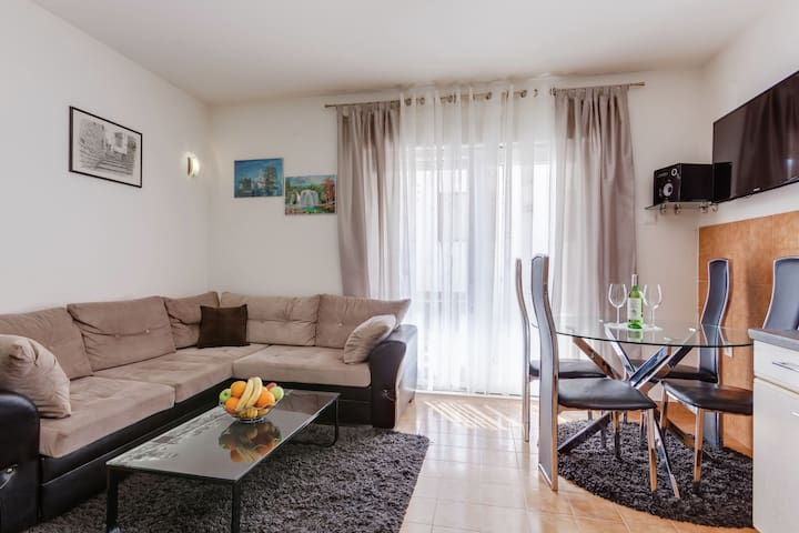 Comfortable apartment with 2 bedrooms, terrace, 150 m from sand beach, airco