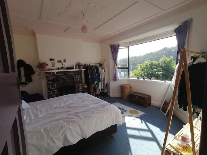 Cosy retro room with valley views