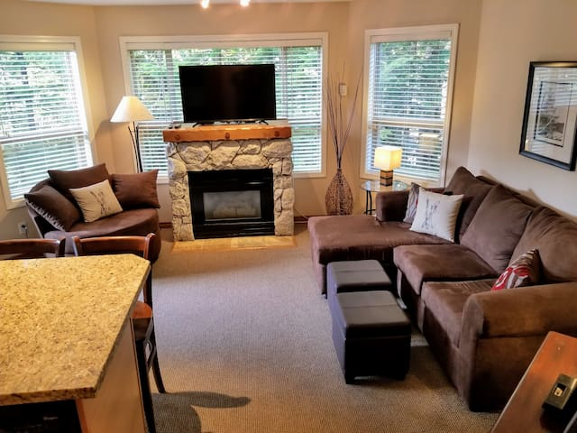 Relax by the fireplace. The condo overlooks the pine forest next to the ski hill. Everything you need is here!