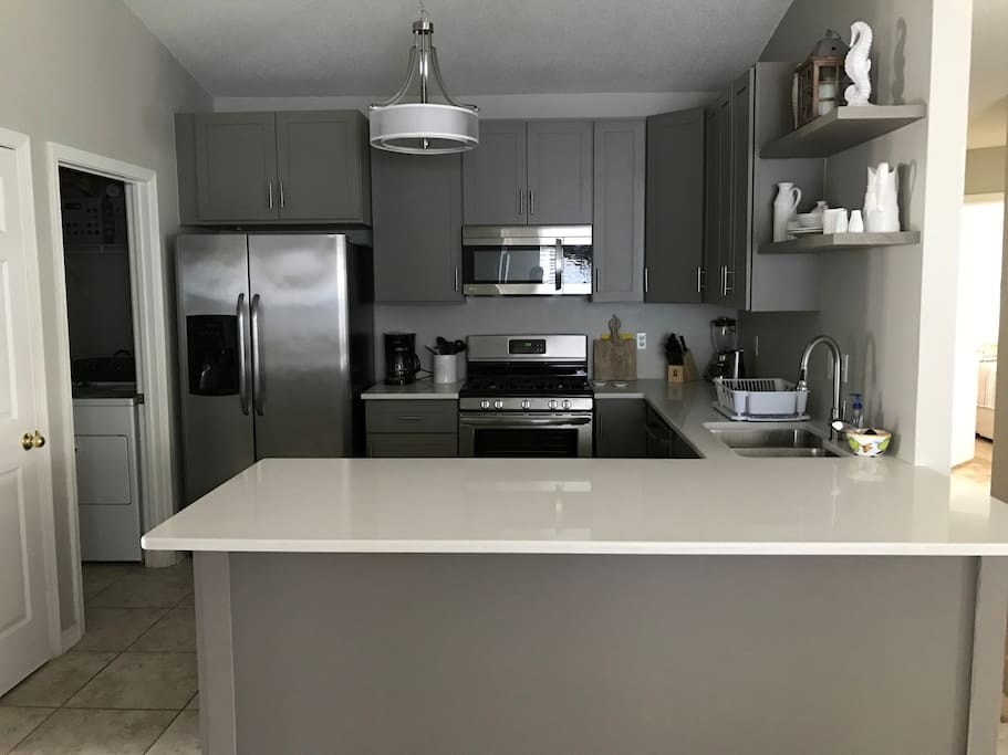 Newly renovated kitchen with Stainless appliances and large quartz counters