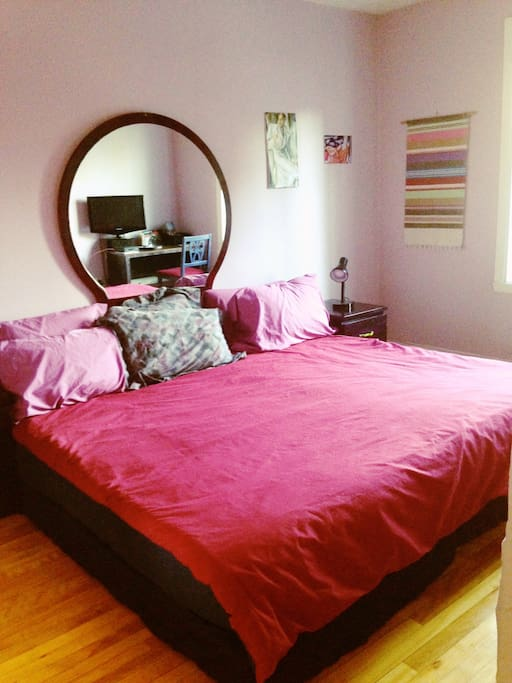Bedroom: Twin beds together to make a king-size