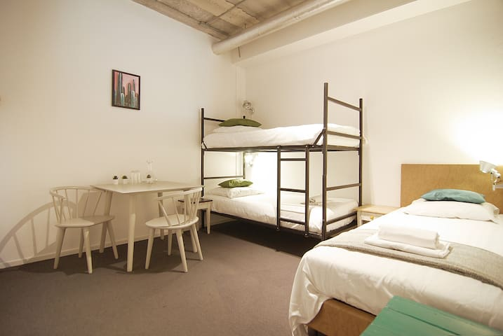 Great room for max three people close to Amstel River