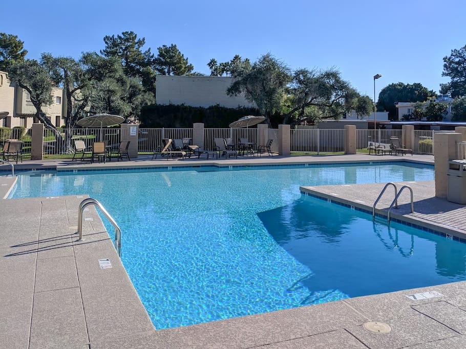 Relax in the community pool, just steps from the front door.