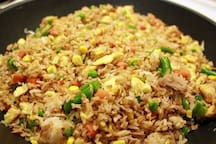 Chicken get rice  tonight for our guest