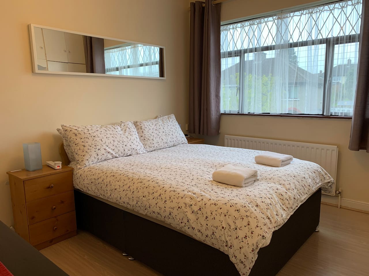 Comfy bed with an excellent quality mattress and a feather and down quilt