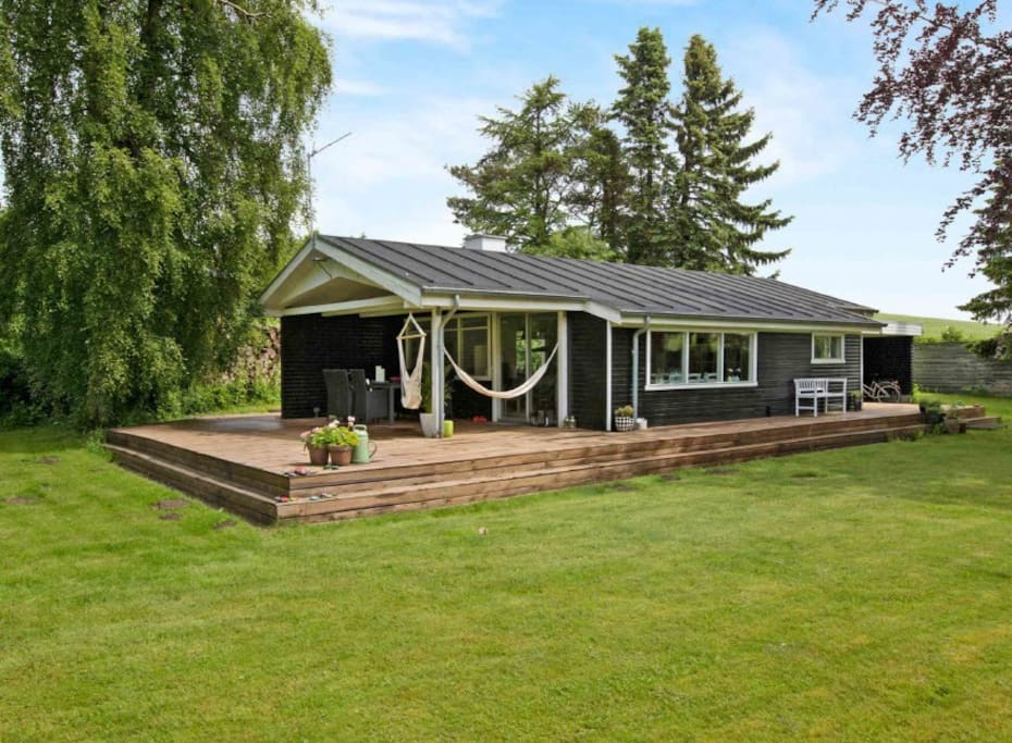 Large wooden patio and lawn and in the field next door cows grass on Basbjerg