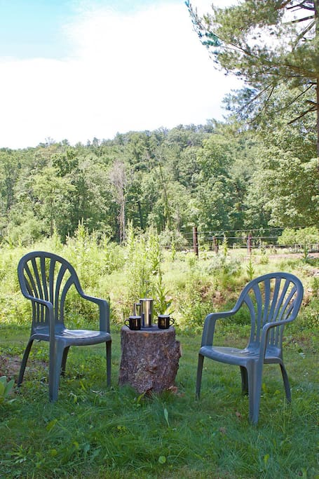 Coffee or tea in the morning in your private sitting area.  Note:  this area is roughly 20 feet from the shared picnic table and 30 feet from the shared fire pit.  There is a privacy planting of wildflowers between the areas.