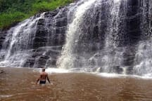 Osvaldo in the basin of one of the may waterfall's around Fazenda Taboquinhas.