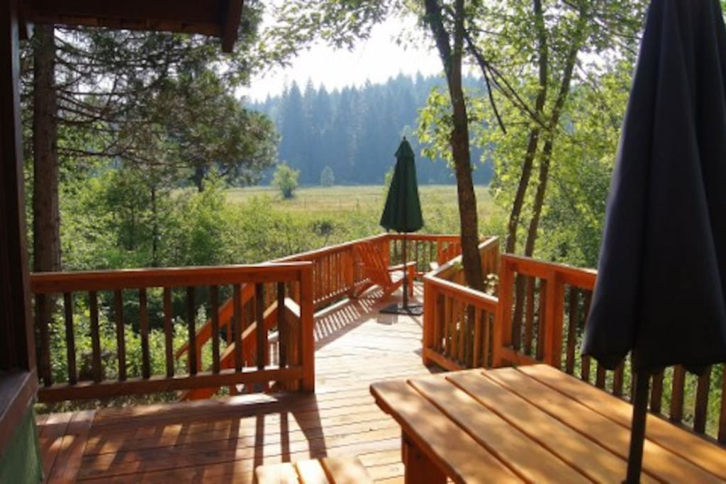 View from the deck to the meadow across Squaw Creek
