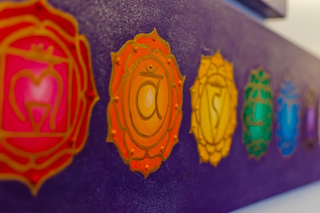 The chakra sign hanging in the treatment room.