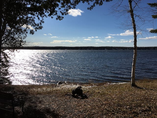 Lakefront on Cross Lake. Snowmobilers welcome!