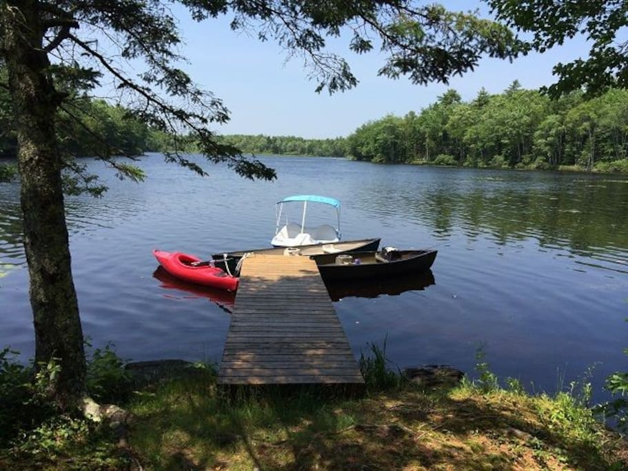 private dock with canoe, kayak and paddle boat