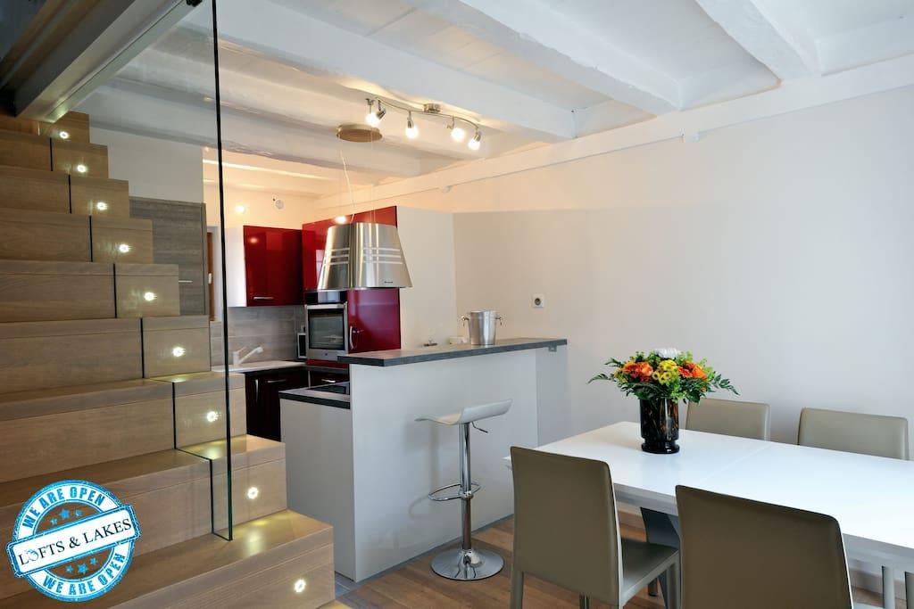 Cuisine et accès à l'étage
