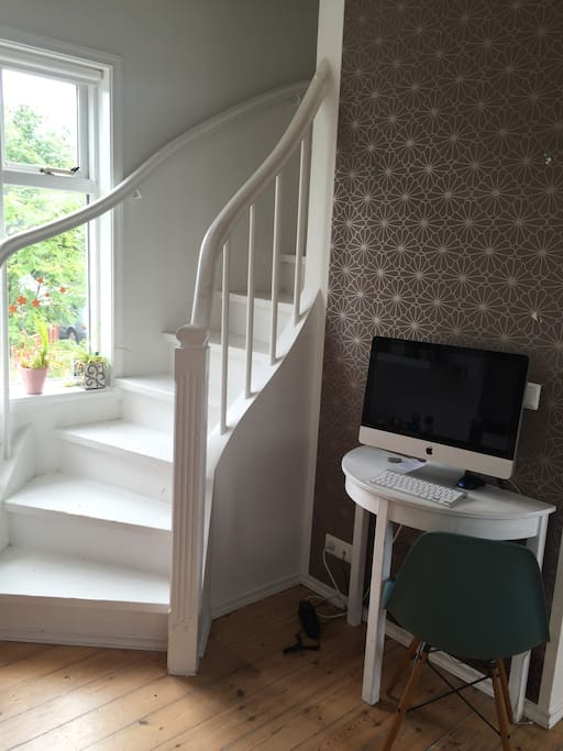 Handcrafted beautiful stairs to the upper floor with three bedrooms