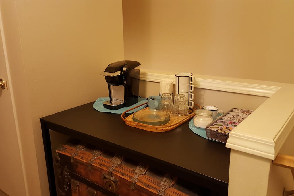 Your own beverage station just outside your bedroom.