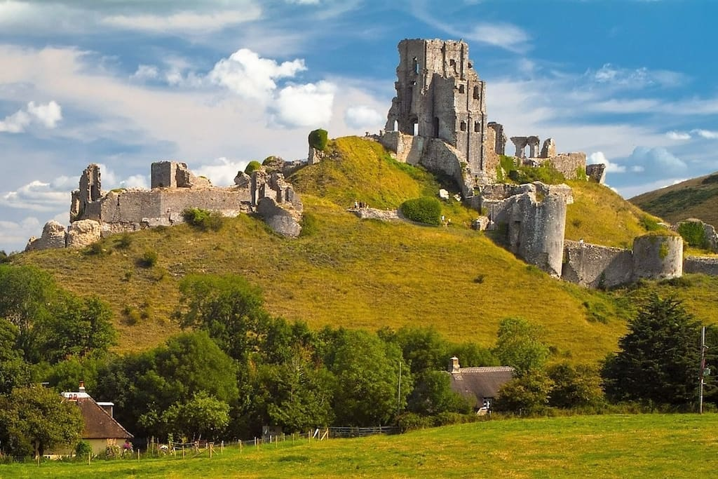 Corfe Castle - there lovely views of the castle from house