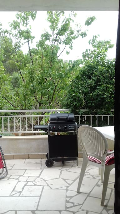 Outside grill on balcony
