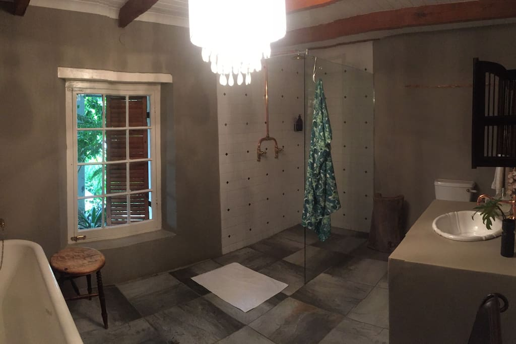 Bathroom with Victorian bath and shower.