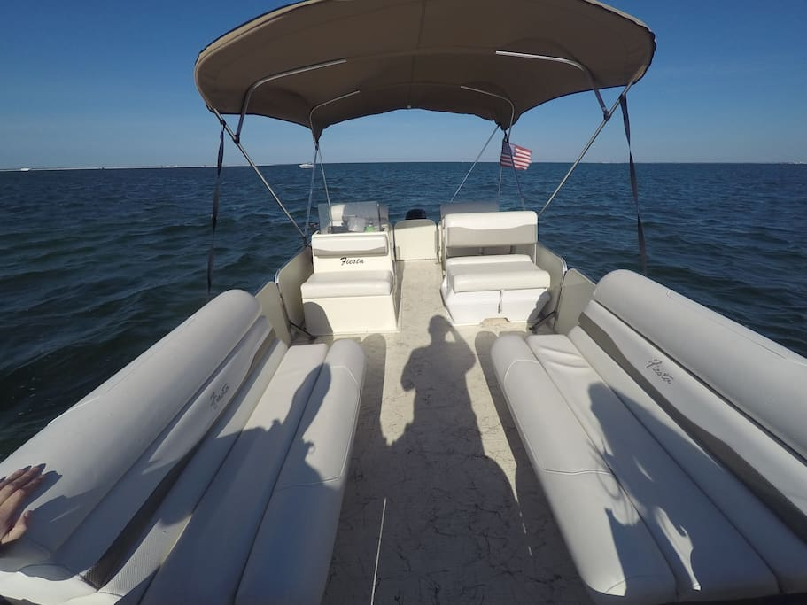 There is plenty of room to chillax out on the water in the spacious pontoon boat.