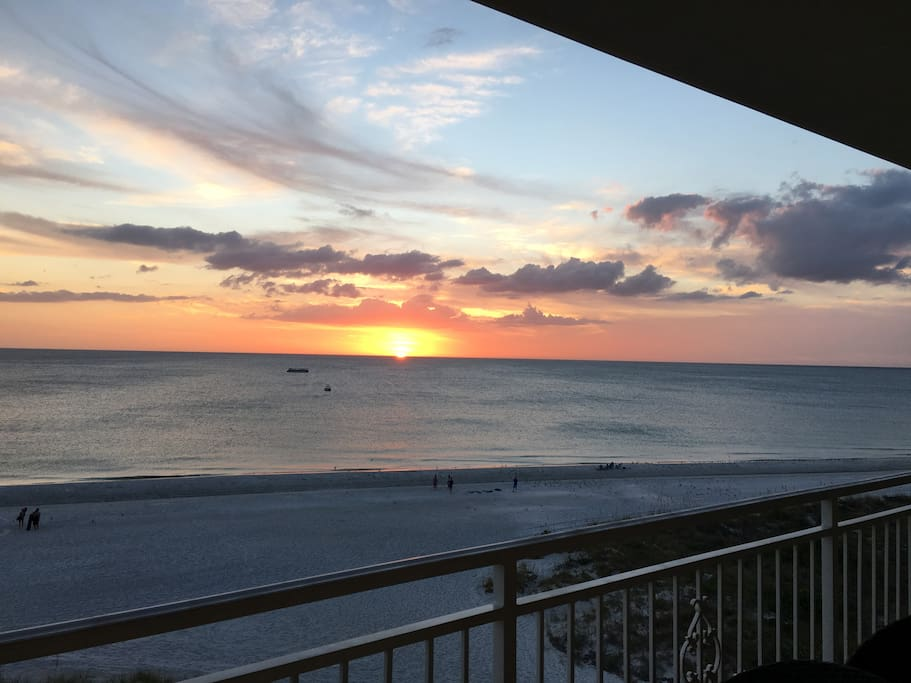 Views from our condo's 4th floor balcony looking out to the Gulf of Mexico