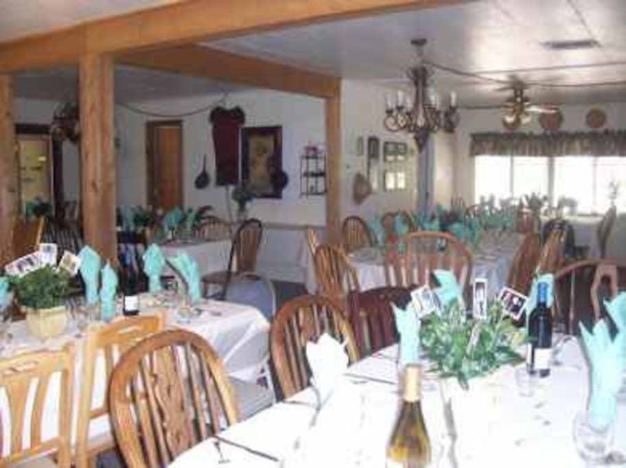 Main dining room for guests at Coram Ranch