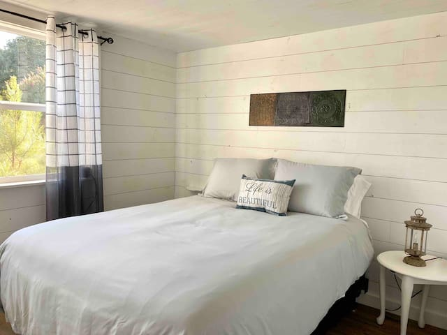 Serenity is key in the relaxing master bedroom