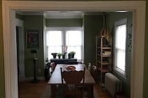 Double parlor dining room and living room