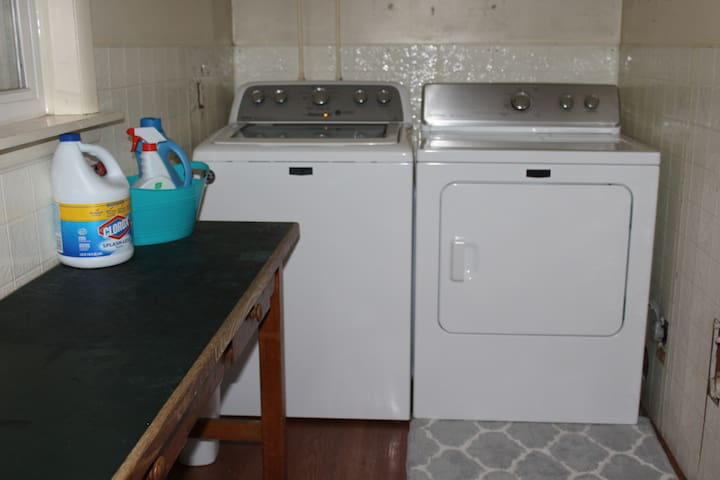 High-capacity washer and dryer.