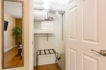 Bedroom #3. Extra towels, pillows, comforter, first aid kit, hair dryer and queen air mattress are in the closet.