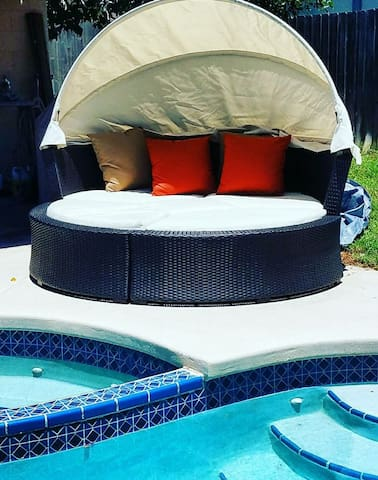 Resort style daybed by the pool