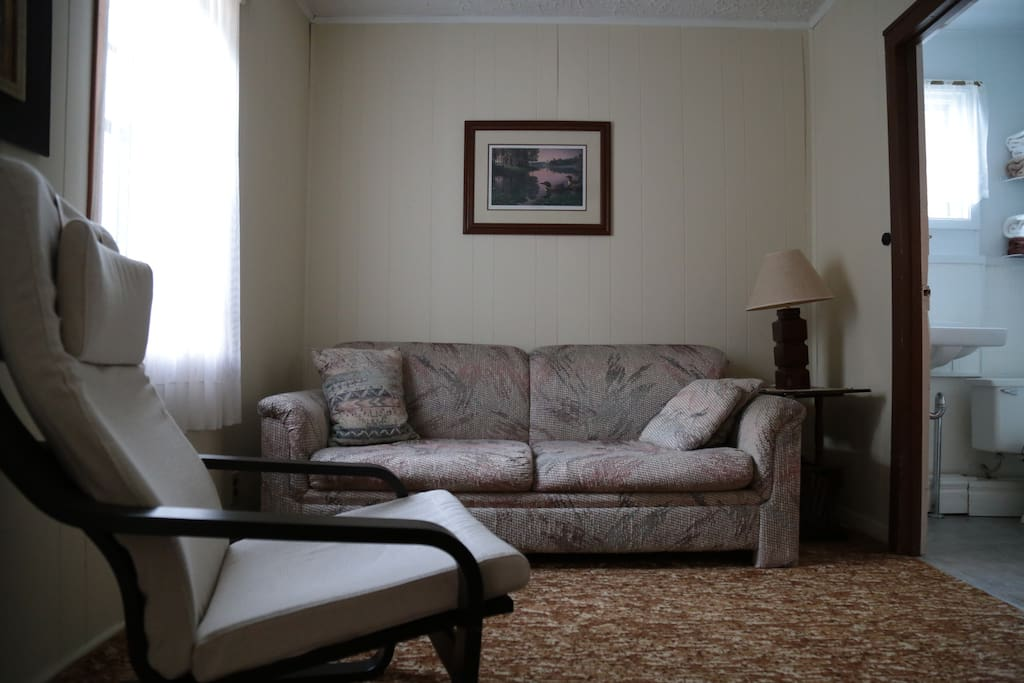 Sit together in the cozy living area or watch your favorite sports or a movie on the satellite tv.