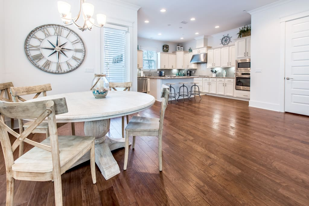Gorgeous wood floors and look at the space