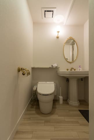 Washlet toilet, with the leading into the shower room