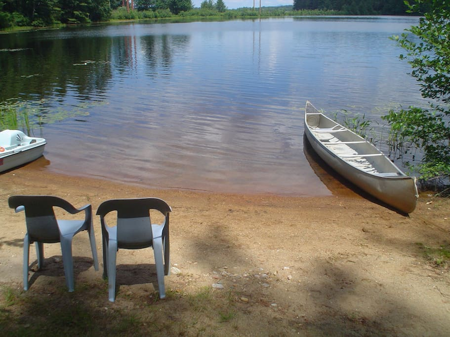 private beach w/swim float