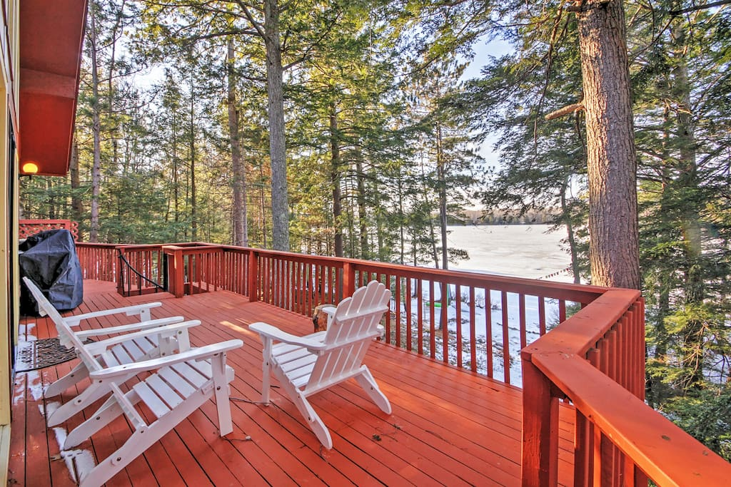 Take in gorgeous views on the deck of this New Durham vacation rental house!