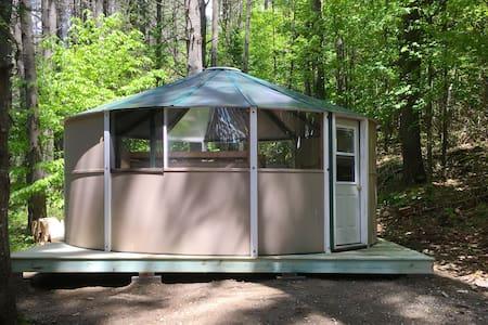 Family Yurt across from the Kennebec River.