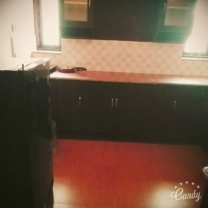 Kitchen-provided with fridge and induction stove (gas stove provided on request)