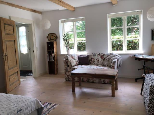 Stuen med sofa og en enkelt seng/Living room with a sofa and one single bed