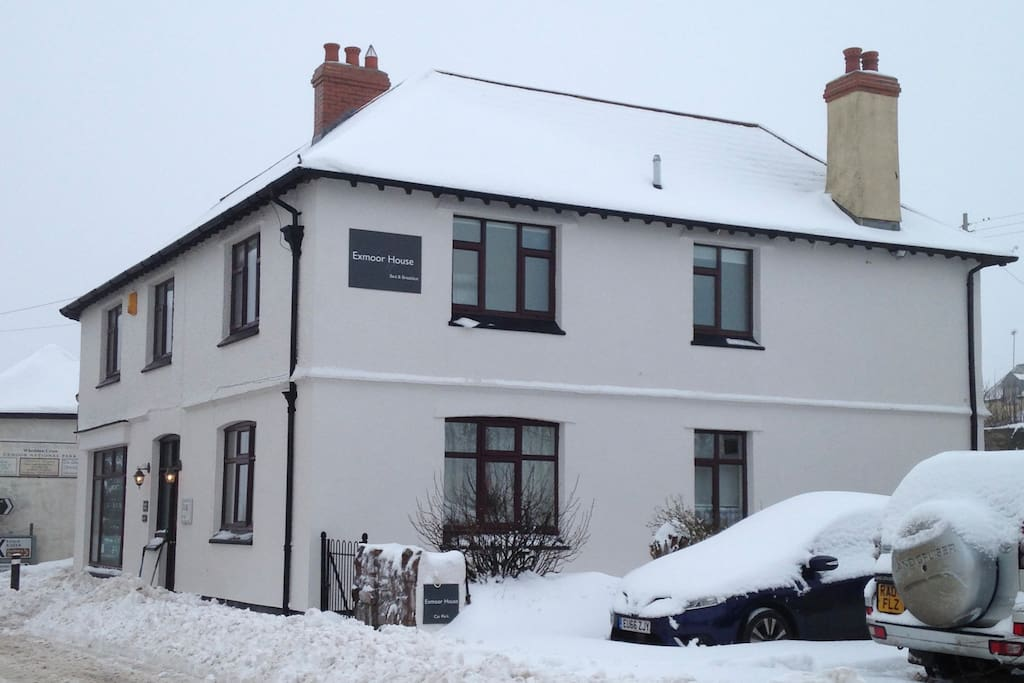 Exmoor House, as seen from the snowy road outside