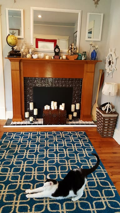 Large fireplace in the entryway