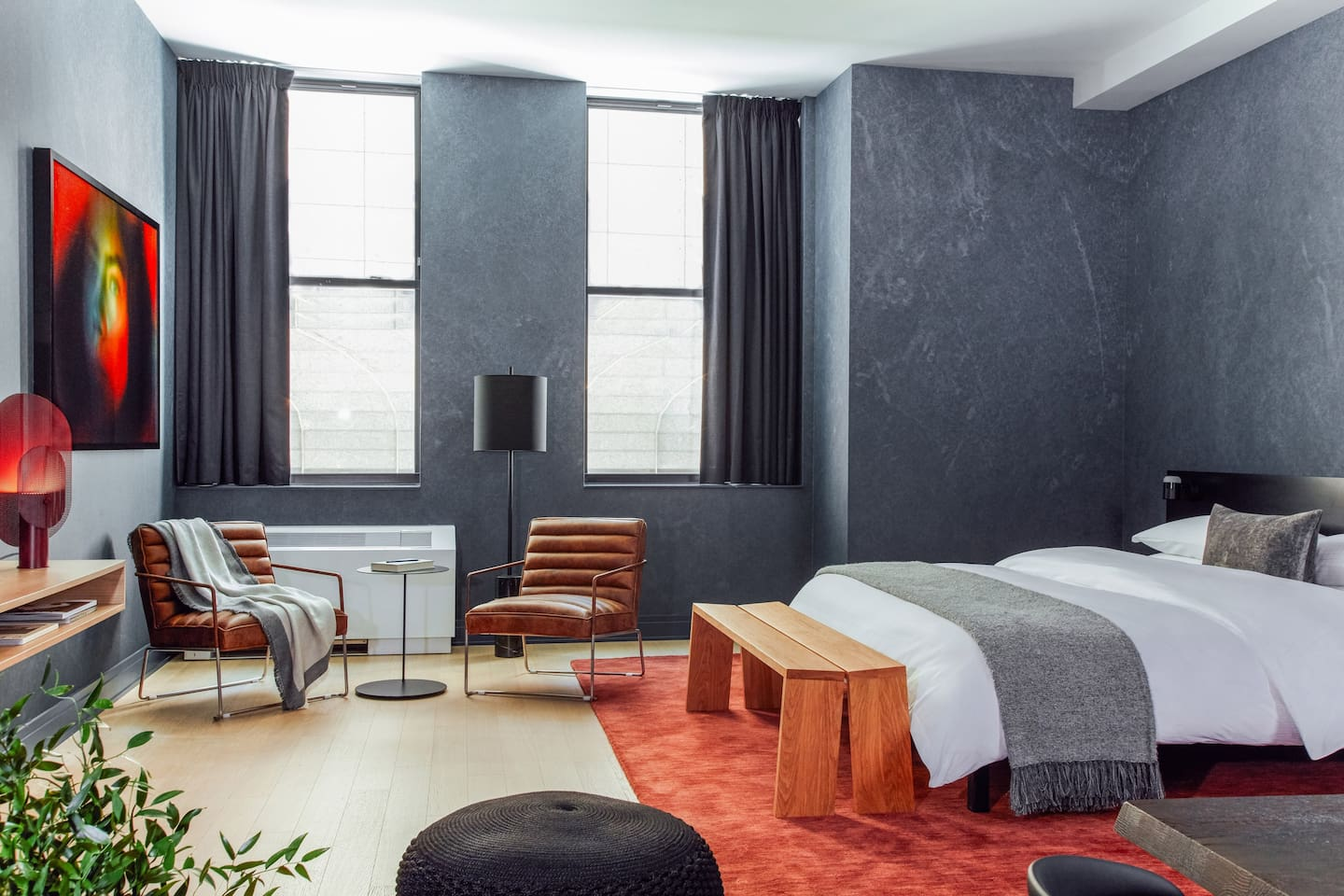 Starting at 700 square feet, our rooms are larger than most hotel rooms in NYC. Our units feature cable TV plus streaming for Netflix, Hulu, and more. The photos are of a model  unit, and the exact floor plan may differ once assigned.