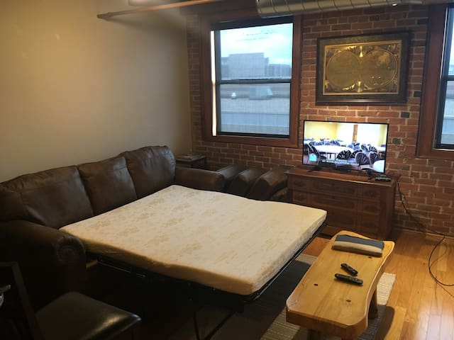 Queen Hide-a-Bed  and Flat Screen TV with internet access to NetFlix Roku etc