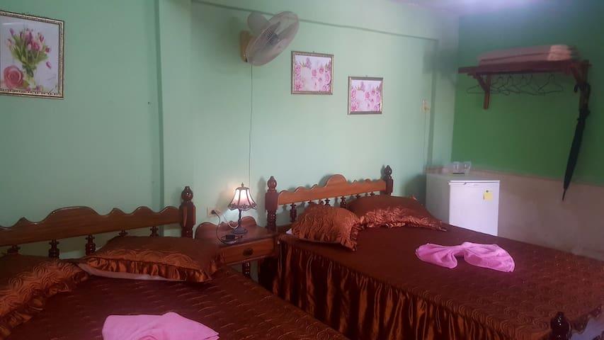 habitacion independiente con dos camas matrimoniales y climatizadas