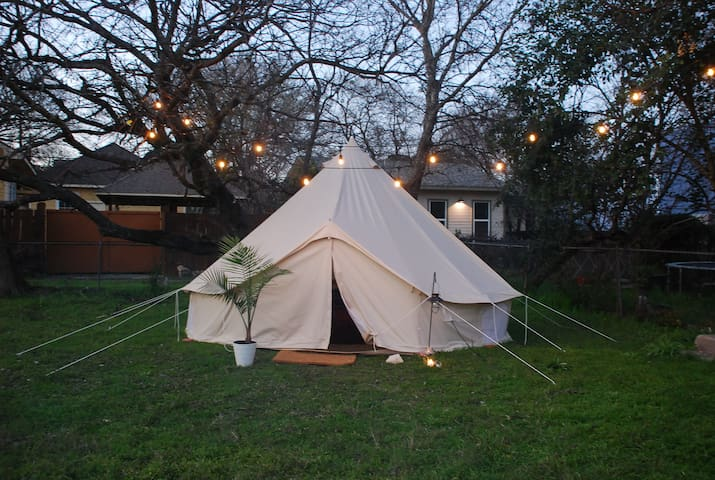 East Austin Glamping Yurt with Outdoor Fireplace