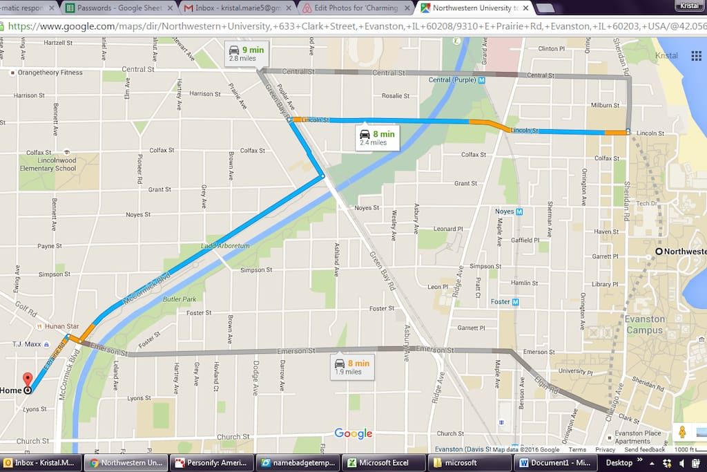 This is the map on how many minutes it takes to get to northwestern by car.