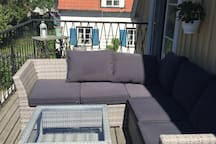 Big Balcony with 2 sofas and table