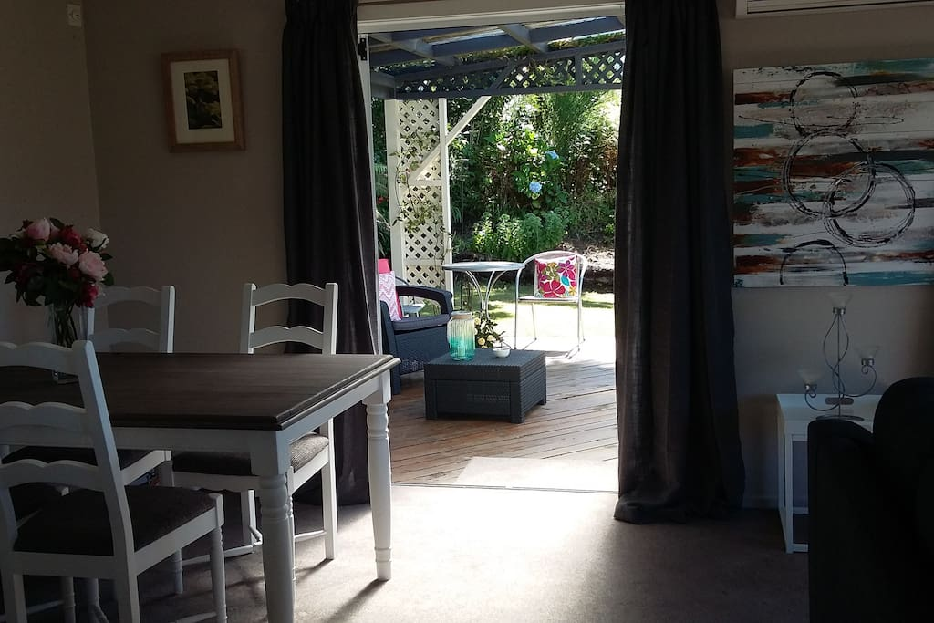 Dining area opens thru french doors onto patio. Free WIFI.