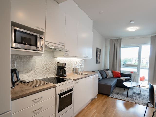 Kotimaailma:Modern 1BR apartment + sauna + terrace