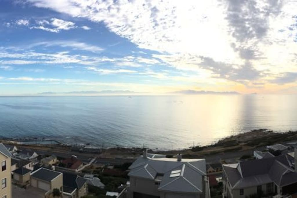 Stunning sea views across False Bay! And at night gaze at the moonglow over the sea!