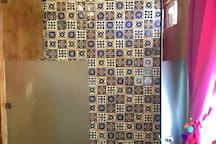 Shower with Mexican Talavera decoration